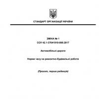 Проєкт Зміни № 1 СОУ 42.1-37641918-098:2017 Автомобільні дороги. Норми часу на ремонтно-будівельні роботи